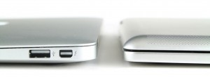 MacBook Air (left) and iPad + Brydge (right) thickness comparison