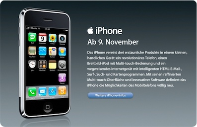 Apple Announces iPhone in Germany also on Nov. 9th