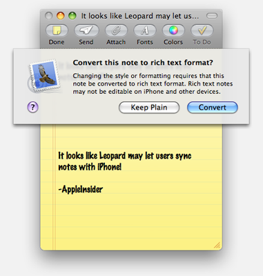 "Leopard ""Notes"" will sync with iPhone"