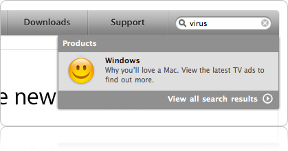 "Type the Word ""Virus"" on Apple.com - guess what you get?"