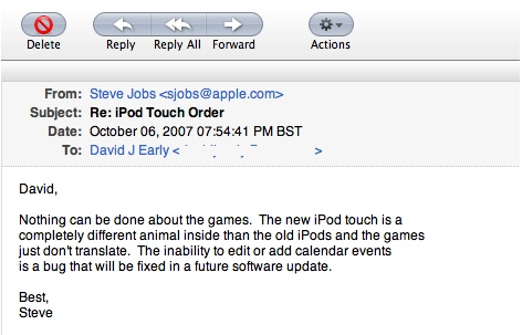 RUMOR: Steve Jobs says Calender Updates to iPod Touch are coming
