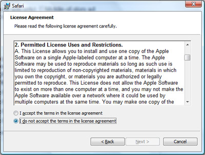 Apple's Safari License forbids Windows users from installing it.