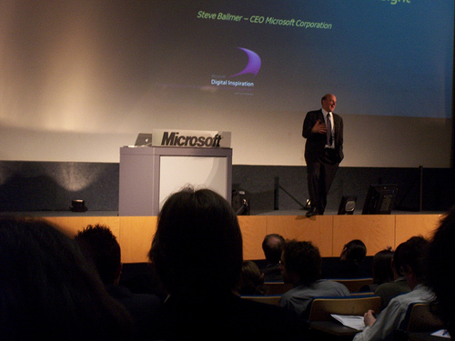 OMG! Steve Ballmer is standing NEAR a Macbook Pro!