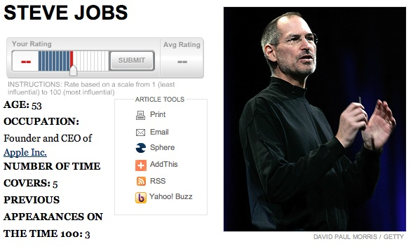 Vote for Steve Jobs in the Time 100 'World's Most Influential People' Poll
