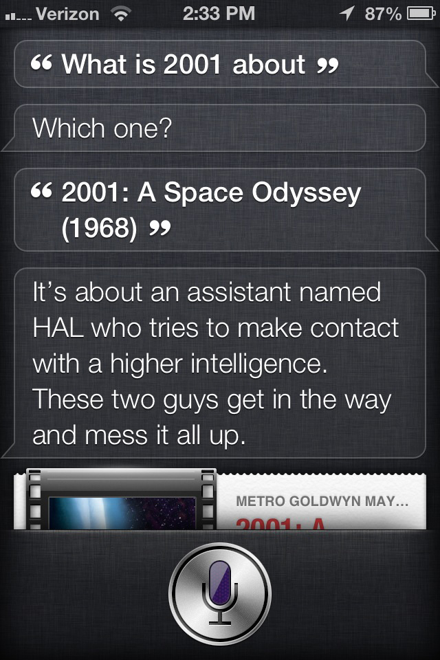 Siri the movie critic: 2001 A Space Odyssey