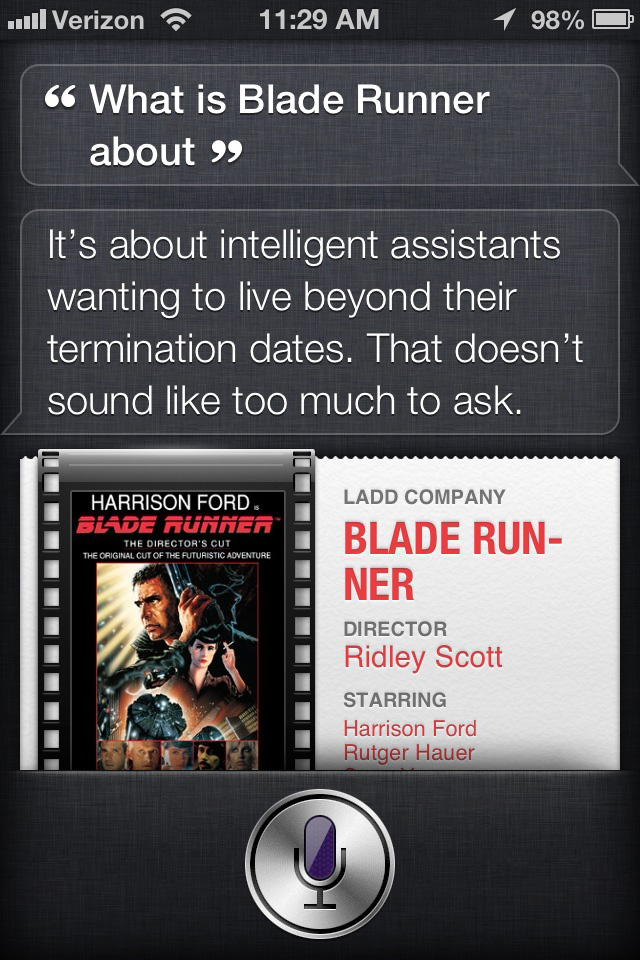 Siri's opinion of Blade Runner
