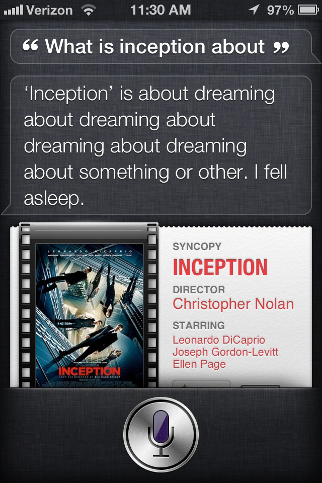 Siri's opinion of Inception