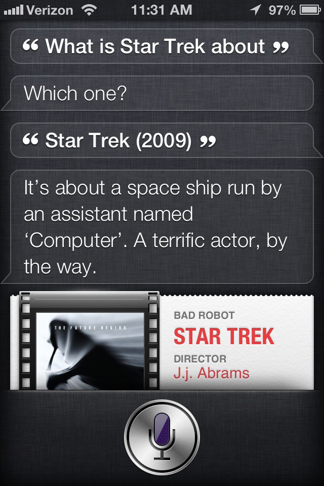 Siri the movie critic: Star Trek