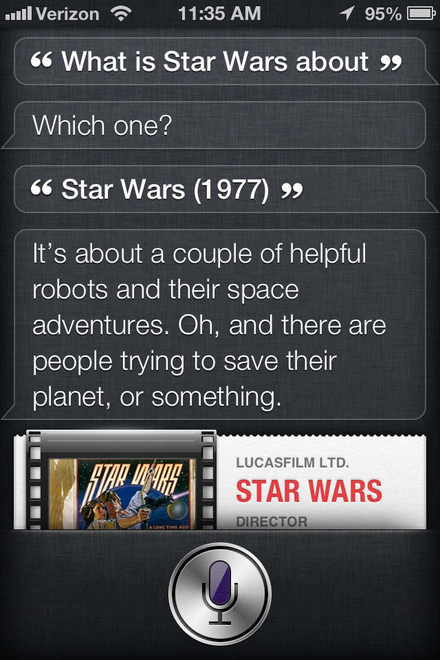 Siri the movie critic: Star Wars