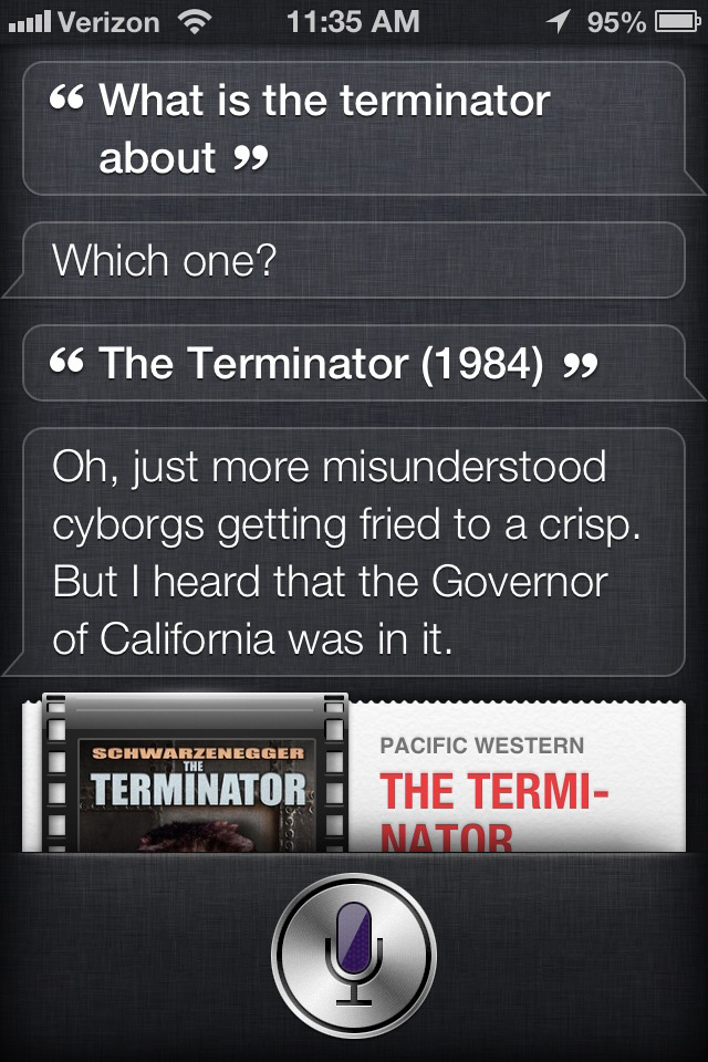 Siri the movie critic: The Terminator