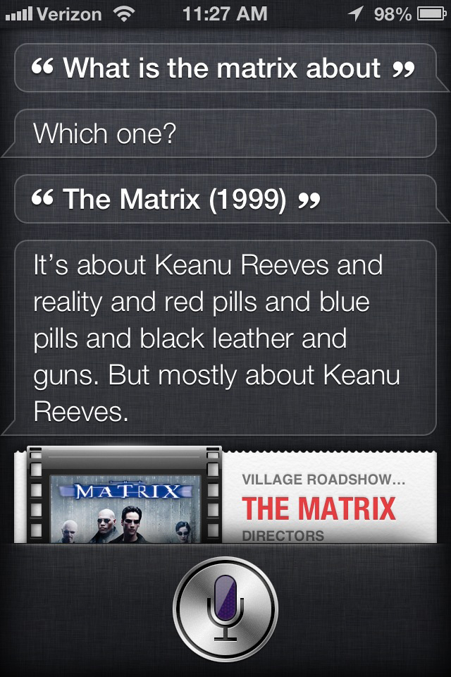 Siri's opinion of The Matrix