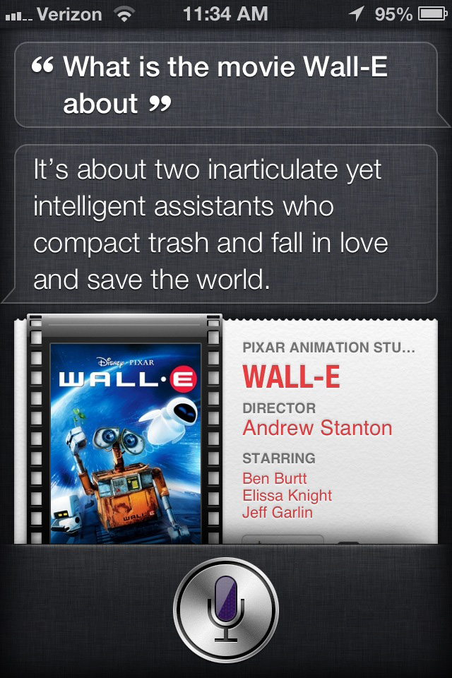 Siri's opinion of WALL-E