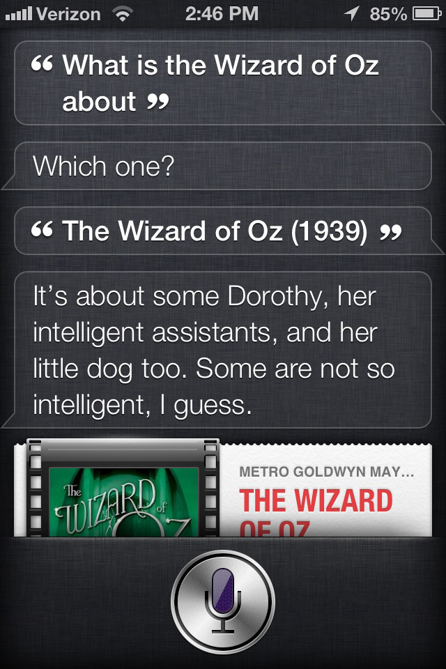 Siri's opinion of The Wizard of Oz