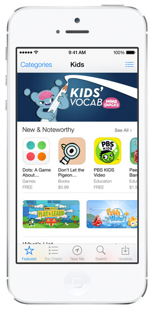 iOS 7 App Store: Kids Section