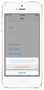 iOS 7 screenshots block calls contacts