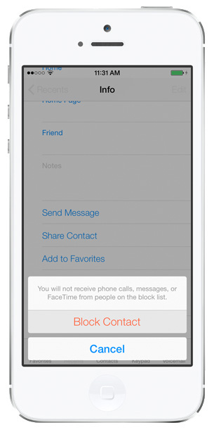 iOS 7 Contacts: Block Calls