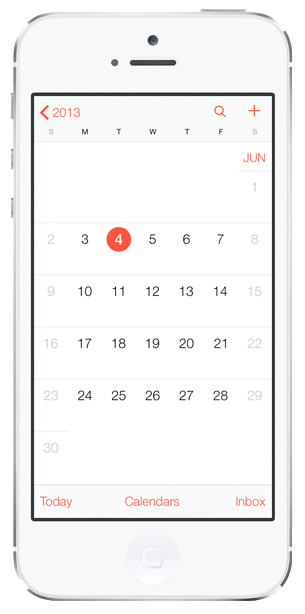iOS 7 screenshots calendar month