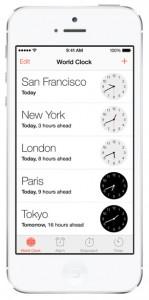 iOS 7 screenshots clock