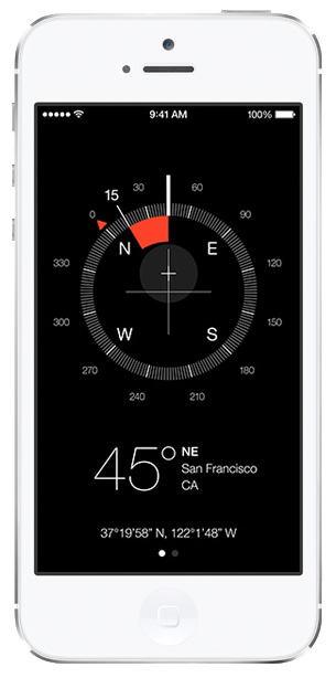 iOS 7 screenshots compass