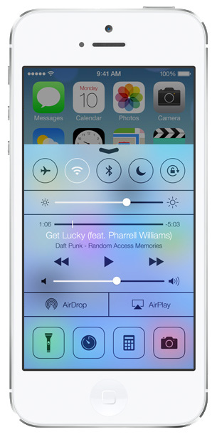 iOS 7 screenshots control center