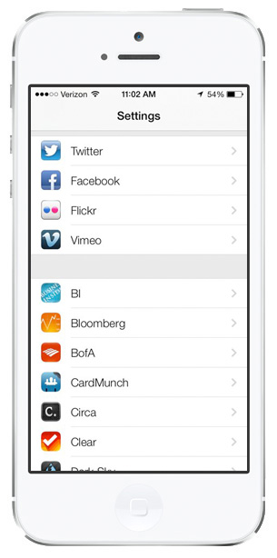 iOS 7 screenshots flickr vimeo