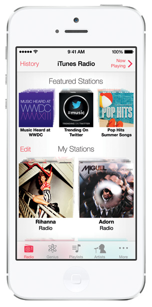 iOS 7 screenshots itunes radio