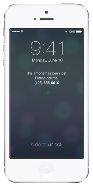 iOS 7 Lock screen: Lost mode