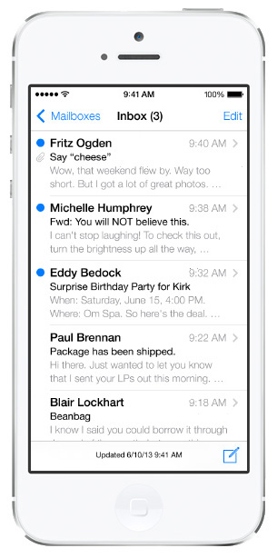 iOS 7 screenshots mail email inbox