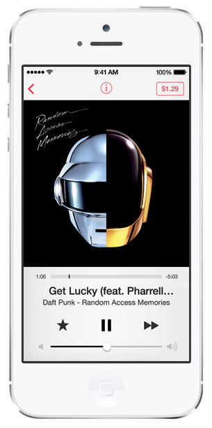 iOS 7 screenshots music player