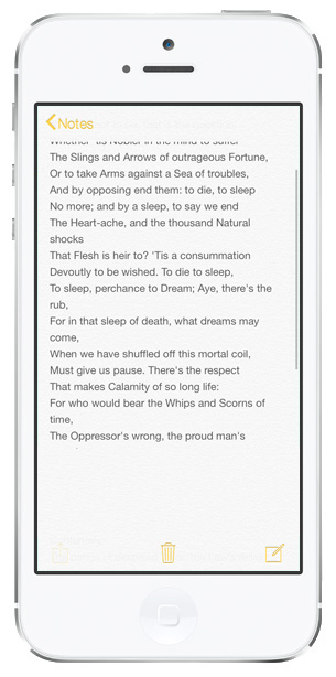 iOS 7 screenshots notes