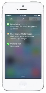 iOS 7 screenshots notifications missed