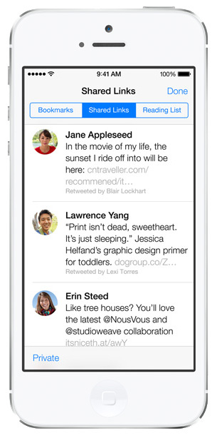 iOS 7 screenshots safari shared links