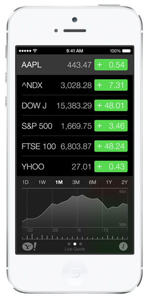 iOS 7 screenshots stocks