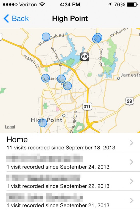 ios 7 hidden features frequently most visited places map