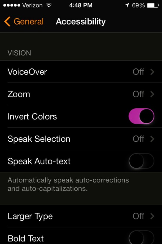 ios 7 hidden features inverted colors