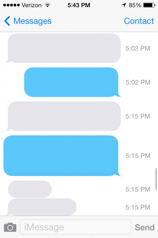 iOS 7: Message Timestamps