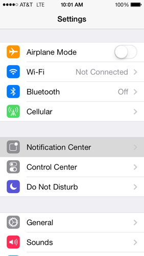 iOS 7 Notification Settings