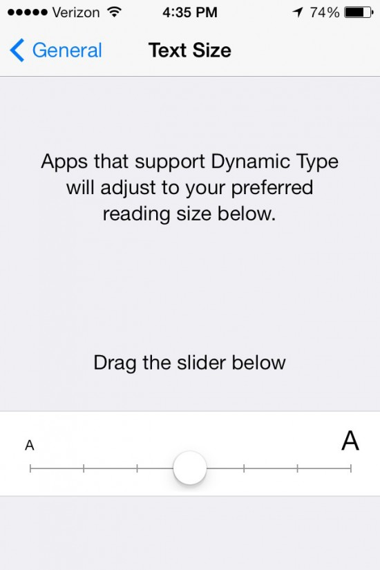 iOS 7: Text Sizes