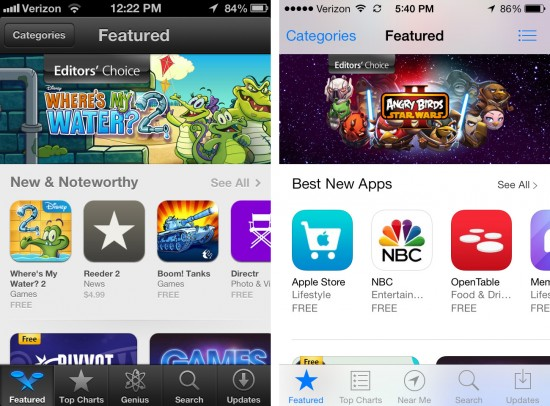 ios 7 app store screenshot upgrade before after