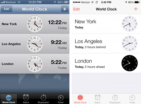 ios 7 clock screenshot upgrade before after