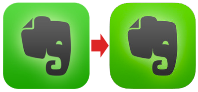ios 7 evernote icon before after