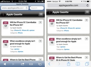 ios 7 safari screenshot upgrade before after