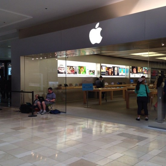 A tiny line at a mall store in Santa Clara, California.