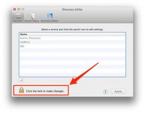 Unlock directory utility OSX
