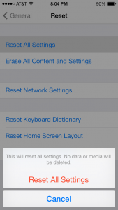 Reset iPhone Settings
