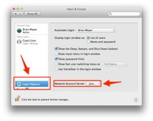 Join network account osx root