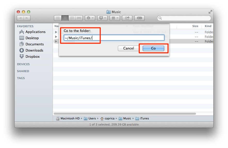 Go to folder itunes library