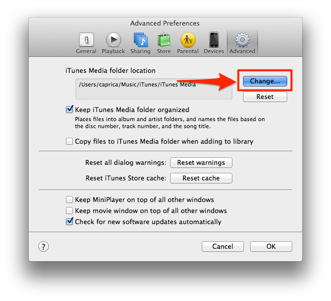 change itunes library