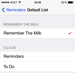 ios reminders default list