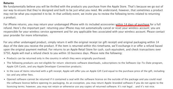 iphone return policy apple return policy now gives you only 14 days to return 5940